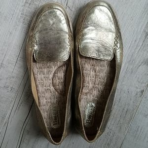 Born Gold Leather Loafers